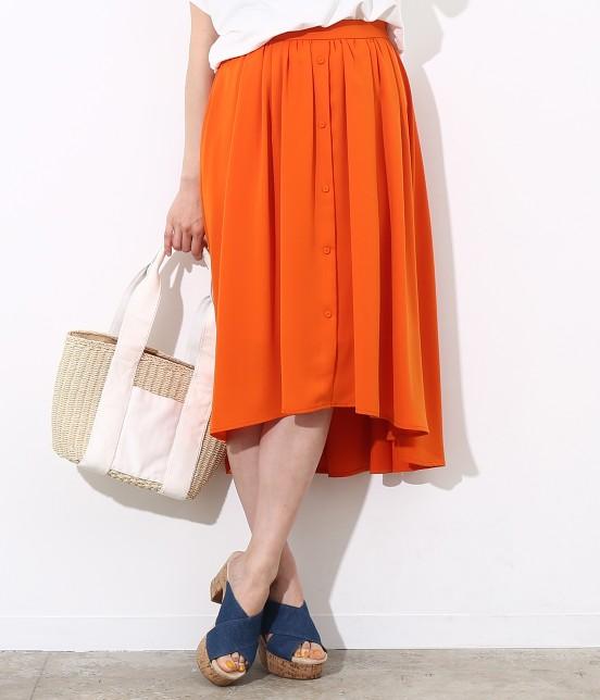 ビス | ラウンドヘムギャザースカート | オレンジ