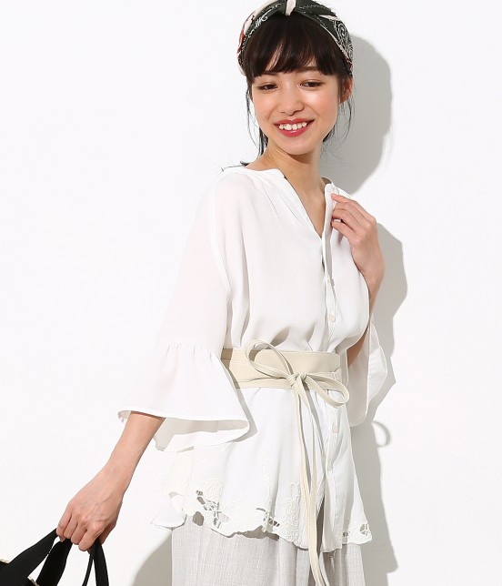 ロペピクニック | 裾刺繍スキッパーブラウス | ホワイト