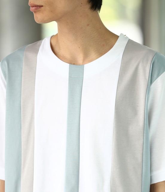 ジュンレッド | 【TIME SALE】パネルストライプ半袖Tシャツ - 3
