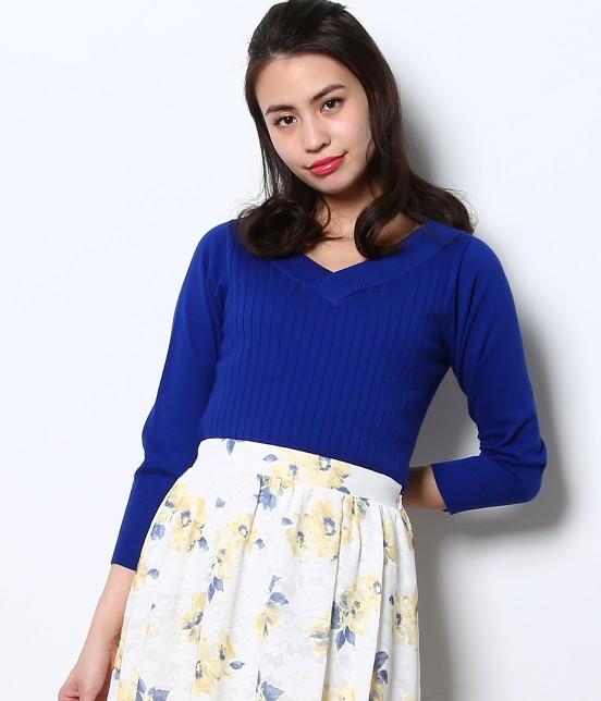 ロペピクニック | 綿100%製品染めリブ編みプルオーバー | ブルー系