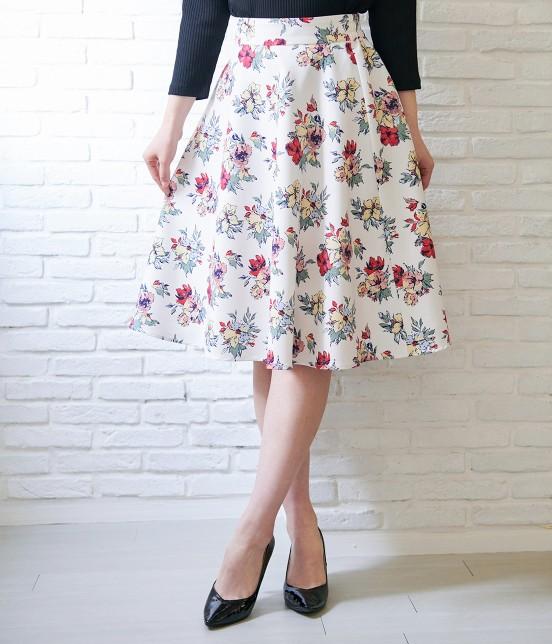 ロペピクニック | 花柄ギャザースカート | ホワイト