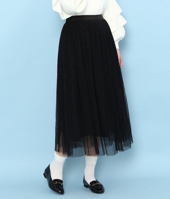 ロペピクニック | ドットチュールプリーツスカート | ブラック