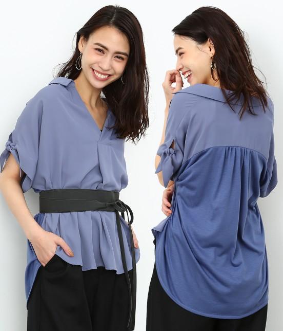 ロペピクニック | 半袖ヒラリボンシャツ | サックス