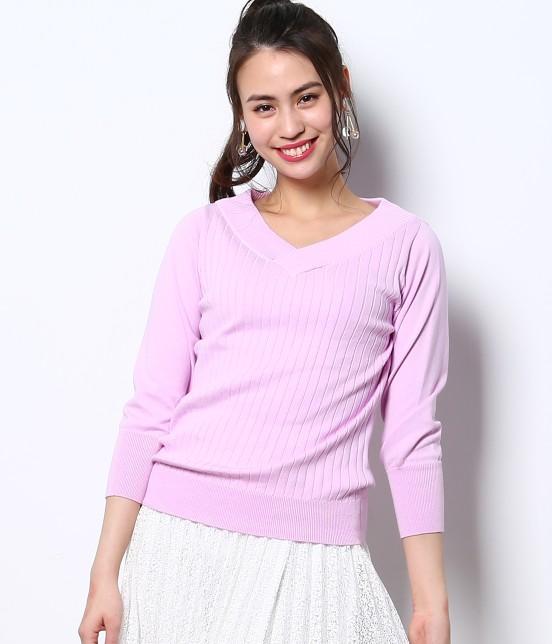 ロペピクニック | 綿100%製品染めリブ編みプルオーバー | ラベンダー