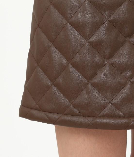 ジュン アンド ロペ   フェアリーレザーチョコレートキルトスカート - 6