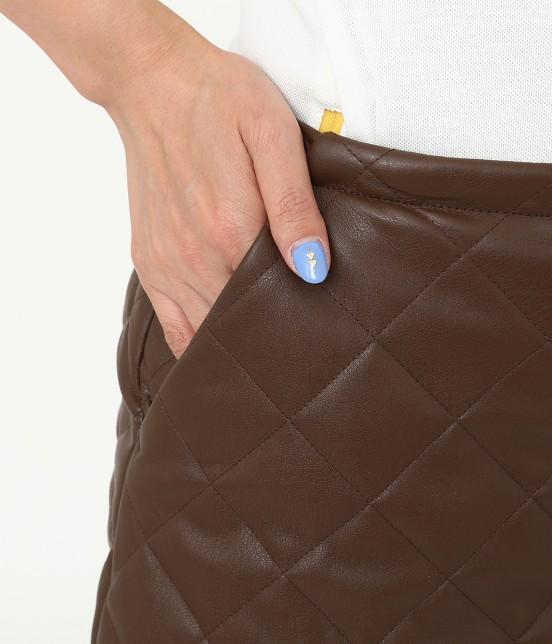 ジュン アンド ロペ   フェアリーレザーチョコレートキルトスカート - 7