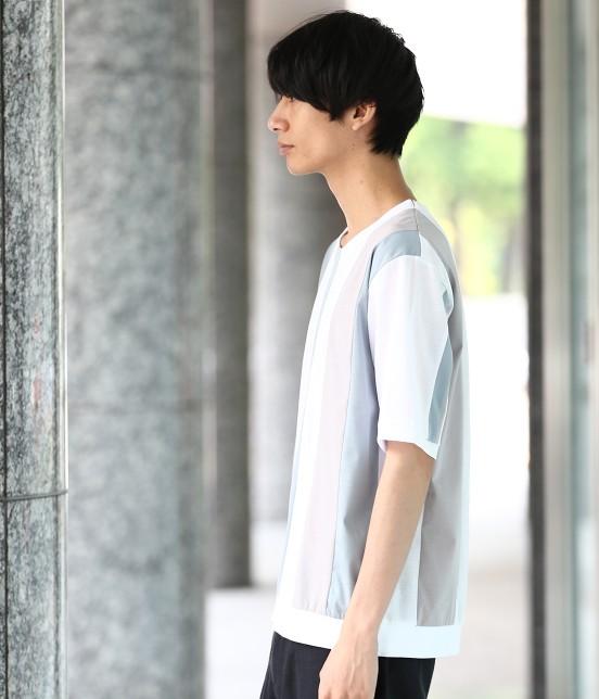 ジュンレッド | 【TIME SALE】パネルストライプ半袖Tシャツ - 1