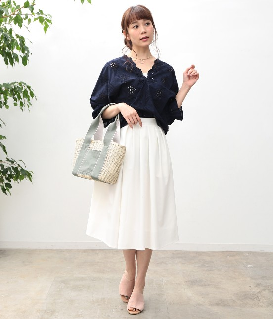 ビス   【WEB限定カラー】パンチングレースボリューム袖ブラウス - 16