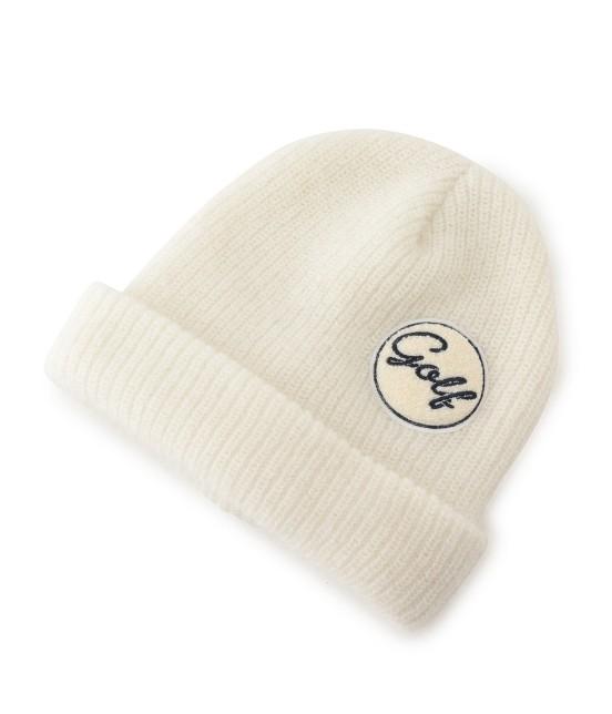 ジュン アンド ロペ | ワンポイントワッペン付きニット帽 | ホワイト