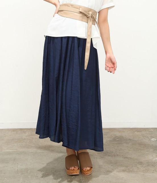 ビス | 【ただいまセール開催中】【SET】ベルト付きスラブローンギャザースカート | ネイビー