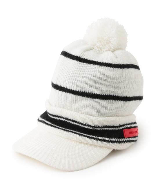 ジュン アンド ロペ | つば付きライン入りニットポンポン帽 | ホワイト