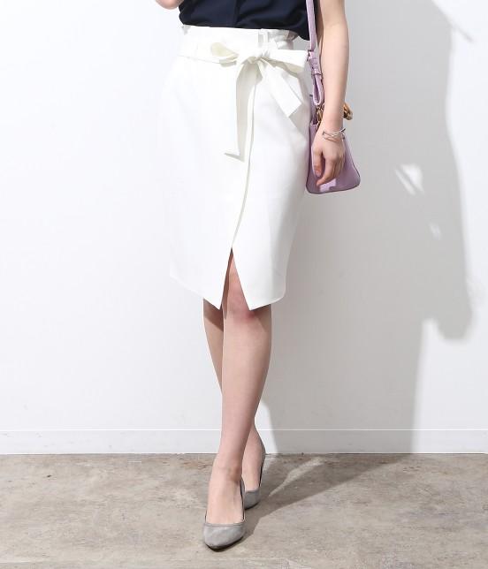 ビス | 【今だけ!WEB店舗限定10%OFF】★新色追加★リボンベルト重ね前スリットスカート | ホワイト