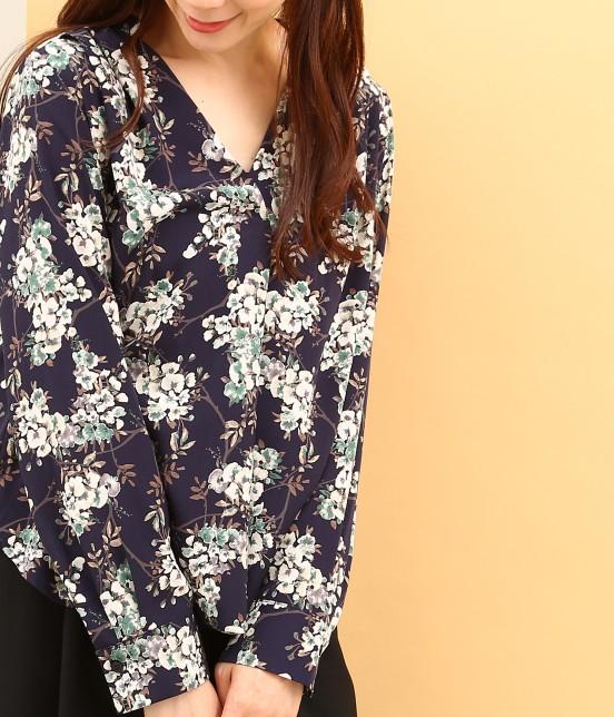 ビス | 【sweet10月号掲載】中花プリント長袖スキッパーブラウス | ネイビー