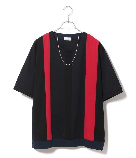 ジュンレッド | 【TIME SALE】パネルストライプ半袖Tシャツ | レッド