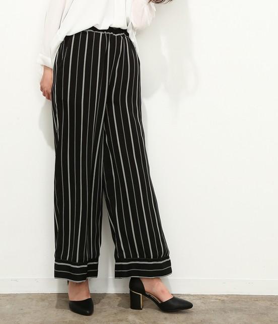ロペピクニック | ストライプパジャマ風パンツ | ブラック