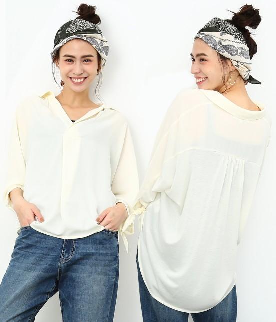 ロペピクニック | 7分袖ヒラリボンムジシャツ | オフホワイト