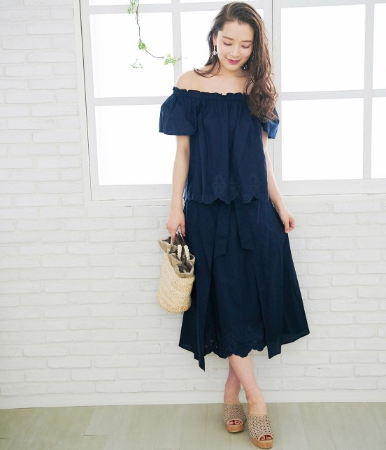 ロペピクニック   【50TH SPECIAL COLLECTION】無地/ストライプ裾刺繍スカート - 16