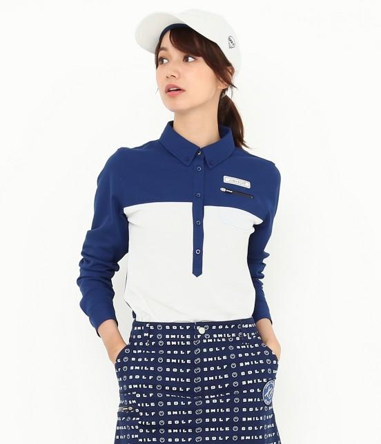 ジュン アンド ロペ | MILLION ICE 配色長袖ポロシャツ | ブルー