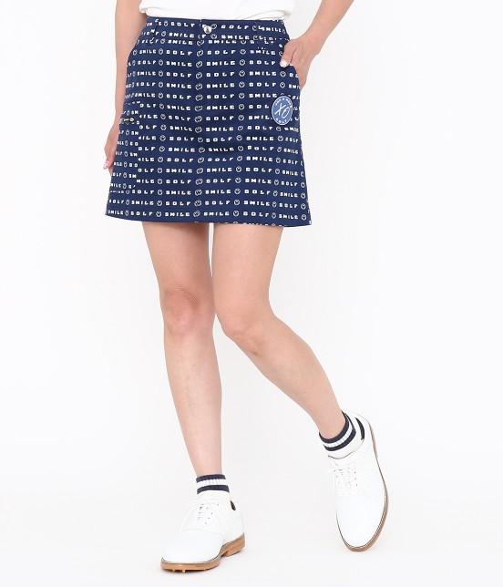 ジュン アンド ロペ | スマイルモチーフプリントスカート | ブルー