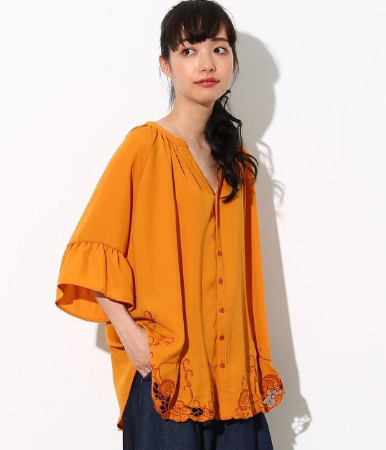 ロペピクニック | 裾刺繍スキッパーブラウス | オレンジ系