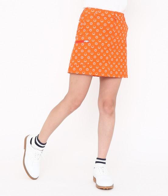 ジュン アンド ロペ | スマイルモチーフプリントスカート | オレンジ
