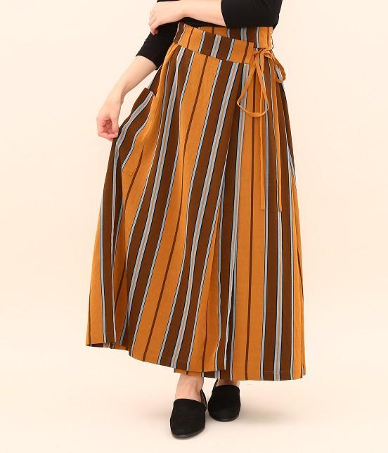 サロン アダム エ ロペ ウィメン   ストライプサロンスカート   オレンジ