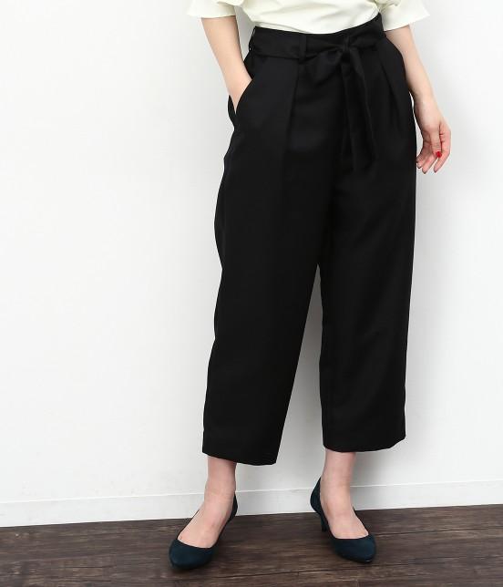 ロペピクニック | リボン付ストレート9分丈パンツ | ブラック