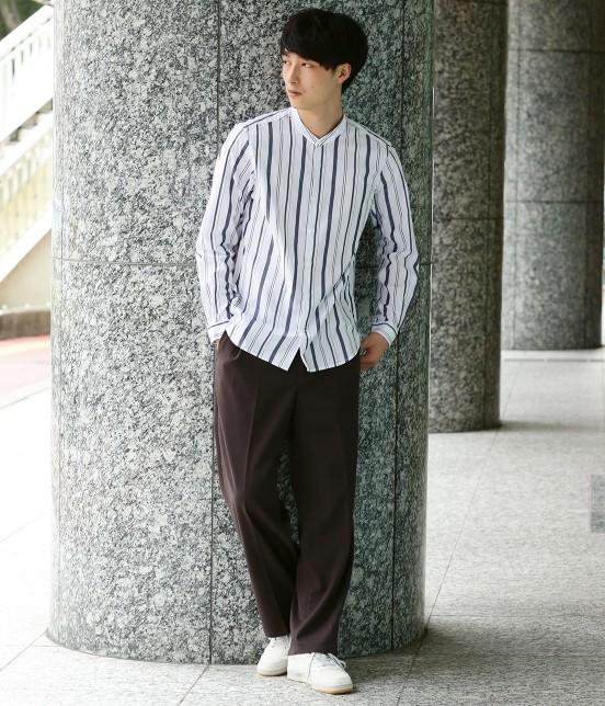 ジュンレッド   【トレンドアイテム】バンドカラーシャツ - 7