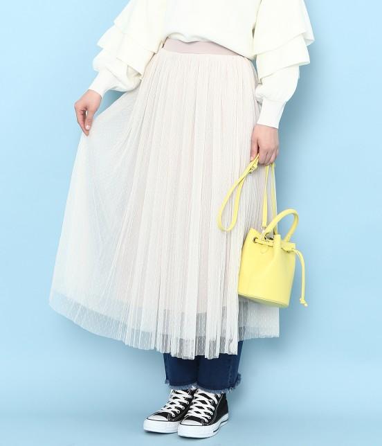 ロペピクニック | ドットチュールプリーツスカート