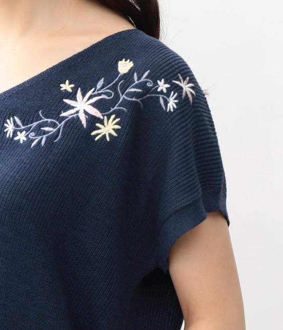 ビス | フラワー刺繍フレンチスリーブプルオーバー - 4