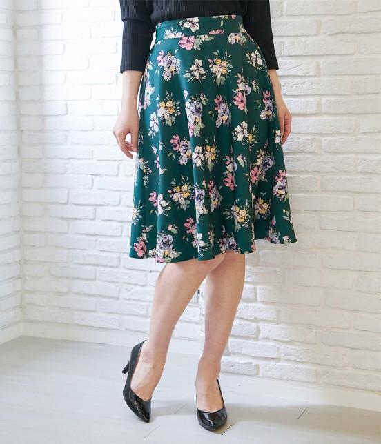ロペピクニック | 花柄ギャザースカート | ダークグリーン