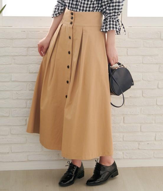 ロペピクニック | 【WEB限定】フロントボタンロングチノスカート