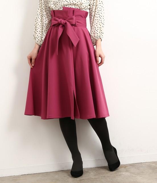ロペピクニック | リボン付きスリットフレアースカート | ローズピンク
