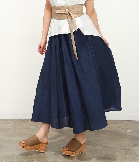 ビス | 【ただいまセール開催中】【SET】ベルト付きスラブローンギャザースカート - 9