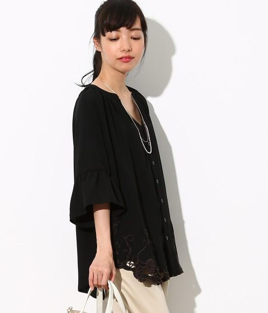 ロペピクニック | 裾刺繍スキッパーブラウス | ブラック