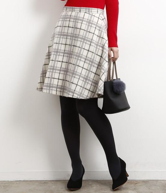 ロペピクニック | 立体シャギーチェックフレアースカート | ホワイト