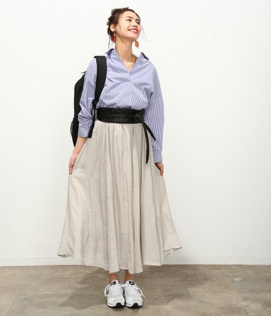 ビス | 【ただいまセール開催中】【SET】ベルト付きスラブローンギャザースカート - 11