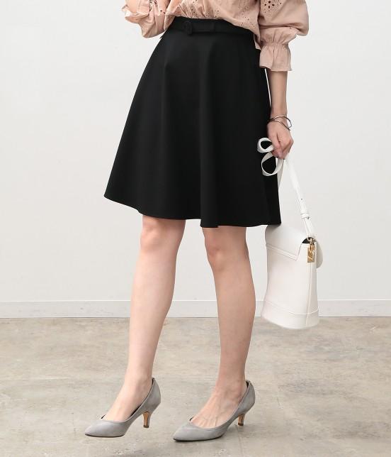 ビス | ベルト付きフレアースカート | ブラック