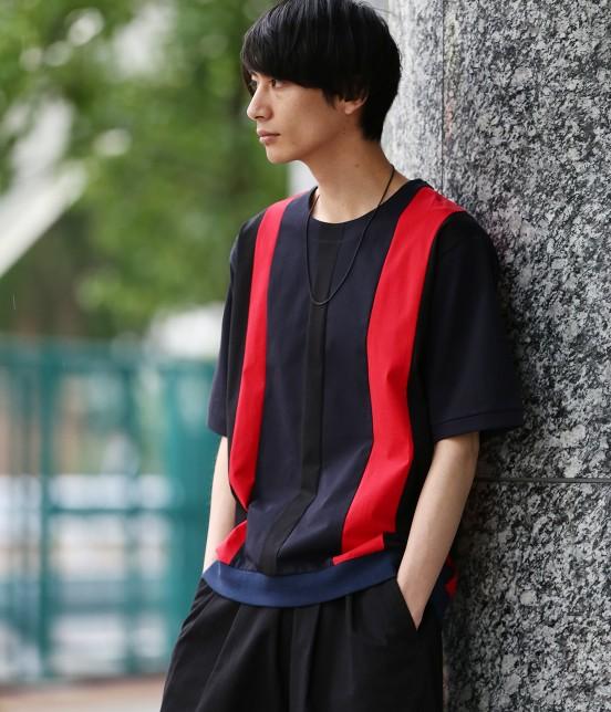 ジュンレッド | 【TIME SALE】パネルストライプ半袖Tシャツ - 10