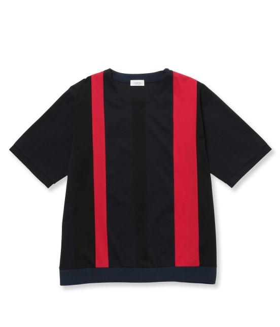 ジュンレッド | 【先行予約】パネルストライプ半袖Tシャツ | レッド
