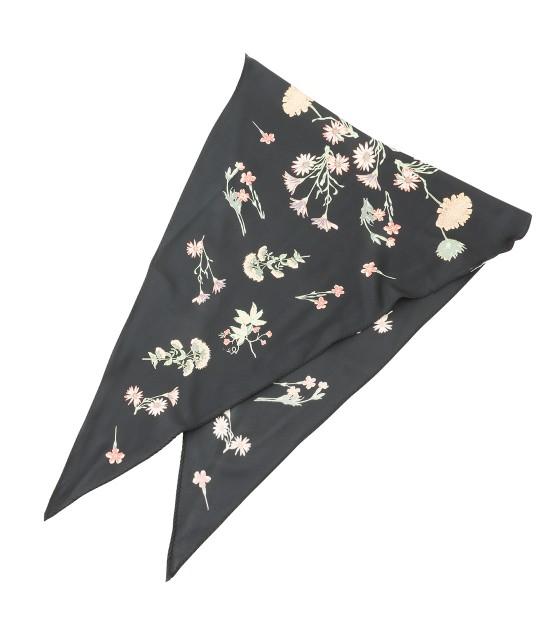 ロペピクニックパサージュ | 【TIMESALE】ボタニカルプリント菱形スカーフ | ブラック