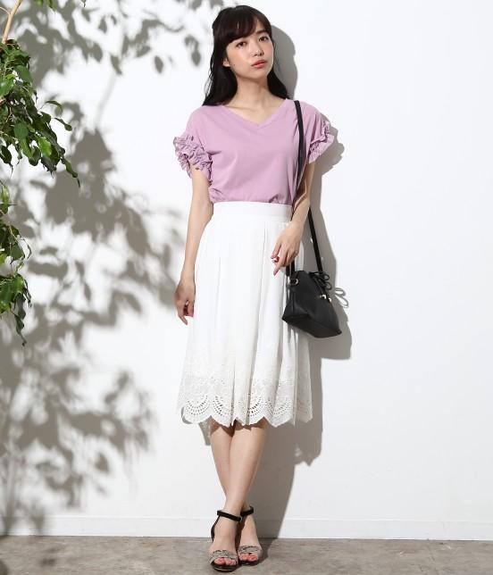 ロペピクニック   スカラップ刺繍スカート - 5
