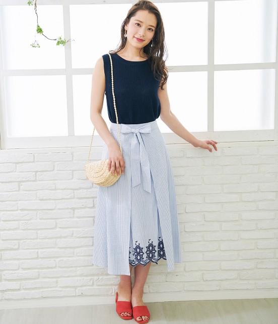 ロペピクニック   【50TH SPECIAL COLLECTION】無地/ストライプ裾刺繍スカート - 13
