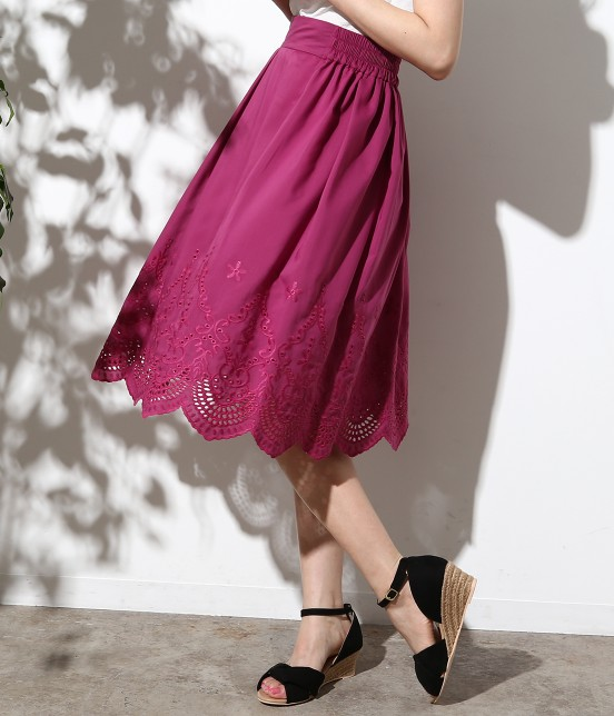 ロペピクニック   スカラップ刺繍スカート   パープル系