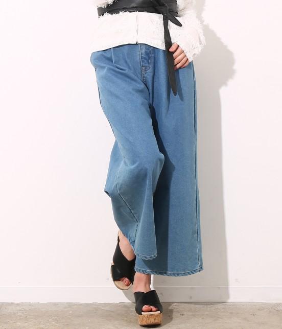 ビス   【sweet4月号掲載】ワイドデニムパンツ   ブルー