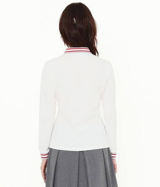 ジュン アンド ロペ   【吸湿速乾性】【UVカット】ラインリブ長袖ポロシャツ - 2