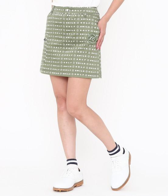 ジュン アンド ロペ | スマイルモチーフプリントスカート | カーキ