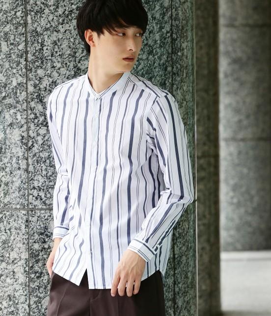 ジュンレッド   【トレンドアイテム】バンドカラーシャツ   ホワイト系