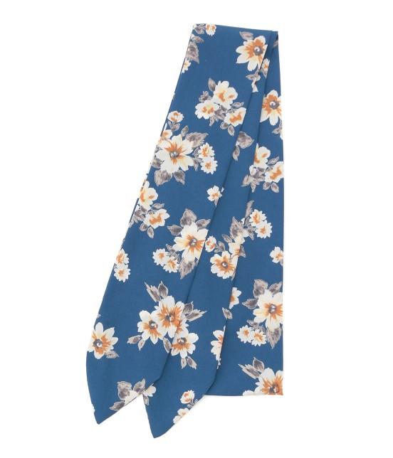 ビス   花柄ナロースカーフ   ブルー系