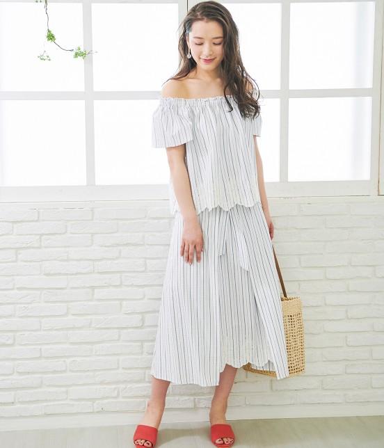 ロペピクニック   【50TH SPECIAL COLLECTION】無地/ストライプ裾刺繍スカート - 14